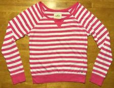 Hollister Women's Pink & White Striped Long Sleeve Shirt / Blouse - Size: XS