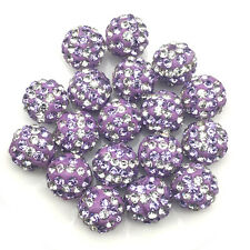 New 10Pcs Purple Stripe Crystal Micro Pave Disco Shamballa Beads Bracelet Spacer