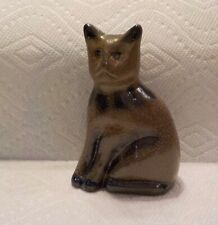 Vtg 1992 Beaumont Brothers Pottery Blue Decorated Stoneware Grumpy Cat Figurine