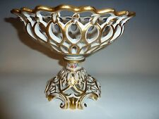 Ant.Old Paris Reticulated Acorn & Leaf White/Gold HP Floral Bolted Compote