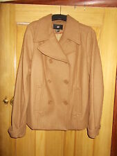 Ladies H&M Tan Wool Blend Double Breasted Outdoor Jacket - Size EU 38