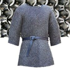 6mm Chainmail  Half Sleeve Round Rivited With Solied Ring Medieval Armour Black