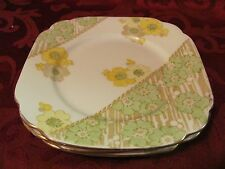 Standard China England 3 bread & butter plates yellow green flowers Waverley