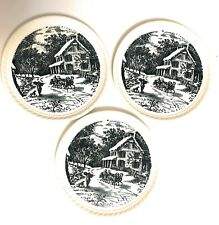3 Holiday Currier & Ives Winter Christmas Plates Blue Scalloped Edge Dishes Usa