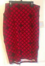 Lularoe Cassie Skirt Large Red with black diamond triangle NWT Free Shipping