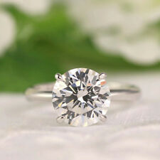 Real 14K White Gold Wedding Ring 3.00 Ct Round Solitaire Diamond Engagement