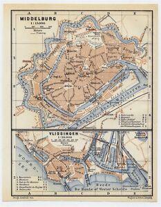 1910 ANTIQUE CITY MAP OF MIDDELBURG / VLISSINGEN FLUSHING / HOLLAND NETHERLANDS