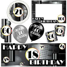 Modern Style Black Happy Birthday Banners Decorations Balloons Party Supplies