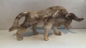 7.6 Pound Brown Onyx Marble Bull Sculpture Vintage Hand-Carved