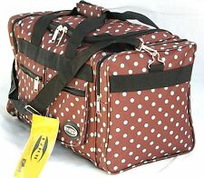 """20"""" 40LB. CAP BROWN WITH BLUE POLKA DOTS DUFFLE BAG/ GYM BAG / LUGGAGE/ CARRY ON"""