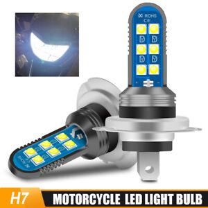 2PC H7 Motorcycle LED Headlight Replace Lamp Bulb Kit Fog Light Beam 6000K White