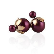 Purple Blue Turquoise White Pink Double Balls Pearl Shamballa Studs Earrings