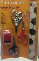 Fiskars School Essentials Kit-3 Scissors, 1 Ruler and 1 Pencil/Crayon Sharpener