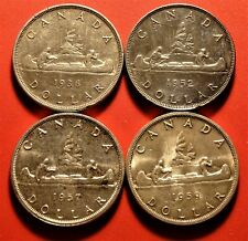 1936 1952 1957 1959 LOT of 4 Canada SILVER Dollar Coins