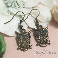 Tone Crystals Owl Dangle Earrings Er2443 Graceful Garden Vintage Style Bronze