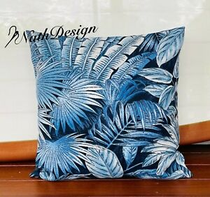 Australian Made Tommy Bahama Indoor/Outdoor Blue Tropical Palm Cushion COVERS