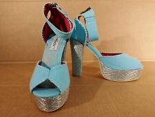 Women Ed Hardy Sz 7 Blue Vintage Style Ankle Peep Toe Platform Pump Heels Shoes