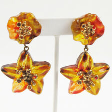 Vintage Artisan Designer Paris clip Earrings clear gold resin lucite dangle star
