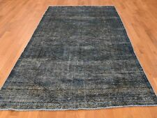 5'x9'4'' Overdyed Persian Tabriz Worn Hand-Knotted Wide Runner Rug R38666