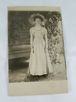 Vintage Real Photo Post Card Dressed Up Pretty Lady in Flowery Hat AZO 1910's?