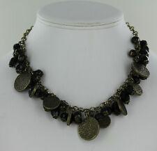 Matte Brass Plate Black Beads Premier Designs Paris Necklace - Antique