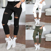 Women's Skinny Ripped Holes Jeans Pants High Waist Stretch Slim Pencil Trousers