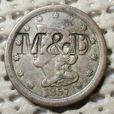 1857 Braided Hair Half Cent Copper Coin M & D Counterstamp