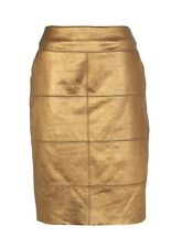 RIVER ISLAND 100% Real Leather Pencil Skirt METALLIC BRONZE Size 12 Pockets