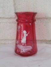 Antique Mary Gregory Cranberry Glass Vase Very Beautiful