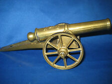 Antique German Embossed Solid Brass Cannon w/ Wagon Toy 1 LB 3oz Collectible
