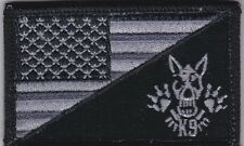 US flag with K9 dog Police Sheriff Military Morale Patch, blk/gry, hook backing