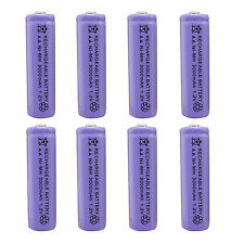 8pcs AA 2A 3000 (Actual 300mAh) 1.2V Ni-MH NiMH Rechargeable Battery Cell Purple