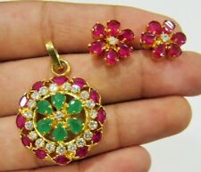 Handmade Ruby Emerald & CZ 25mm Coin Shape Pendant Gold Plated Jewelry Set
