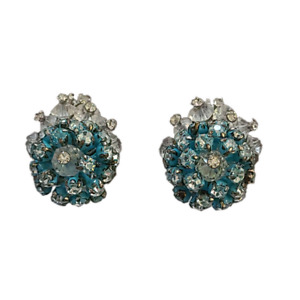 Vendome Blue Rhinestone Cluster Earrings with Bicone Bead Accents