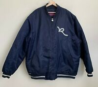 Rocawear Mens Puff Jacket Satin Navy Blue Zip Pockets Quilt Lined Sz 5XL