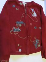 Christopher & Banks Women's Medium zip cardigan red sweater cats w/ yarn