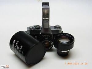 SET: Canon EX-Auto QL Kamera +Original Blitz + Objektiv 1,8/50mm +Tele 3,5/125mm