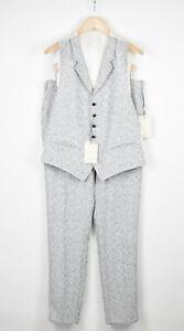 SUITSUPPLY BRESCIA Men UK40R Textured Linen Blend Pants & Waistcoat Suit 15480