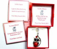 Wise Owl Necklace Graduation or Teacher Thank You Gift Personalised Box & Tag