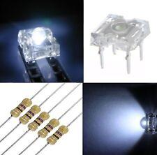 50 diodi led PIRANHA SUPERFLUX 3 mm bianco freddo + 50 resistenze 470 OHM