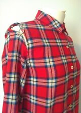 Forever 21 Red Check Tartan Cold Shoulder Rings Shirt Small Punk Goth relaxed