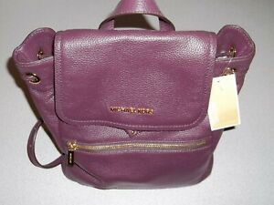 Michael Kors Large Rachel Damson Purple Leather Flap Backpack Bag Purse ~ NWT