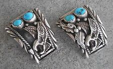 Old Pawn Sterling Silver Eagle Turquoise Navajo 30.3 g - Watch Tips ~ HAR-VS.