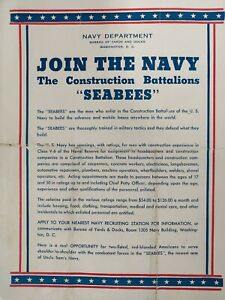 WWII US Navy RECRUITMENT Print Ad SEABEES Construction Battalions