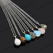 Lots 10pcs Natural Gemstone Drop Pendant Necklace Stone Charm Jewelry Wholesale