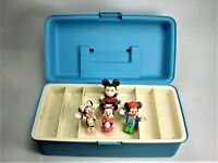 MICKEY MOUSE TOY BOX VINTAGE + COLLECTION OF 2 MICKEY 2 MINNIE  VINTAGE FIGURINE