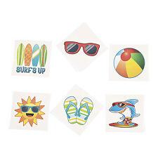 36 luau TATTOOS BIRTHDAY pool party favor loot bag flip flops BEACH BALL surf