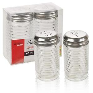 Large Glass Salt And Pepper Set Shaker Pot Jars Pots Screw Stainless Steel Lid