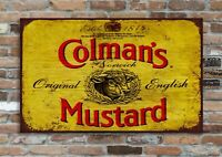 Colemans Mustard Retro Vintage Metal Advertising Wall Sign