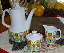 Vtg 1970's Teapot Creamer Sugar Bowl Set Yellow Orange Floral Tulip Daisy Japan